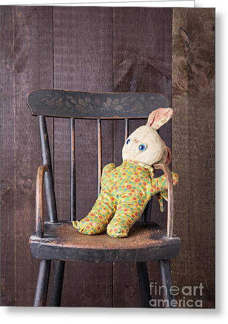 Old Stuffed Bunny On High Chair Greeting Card