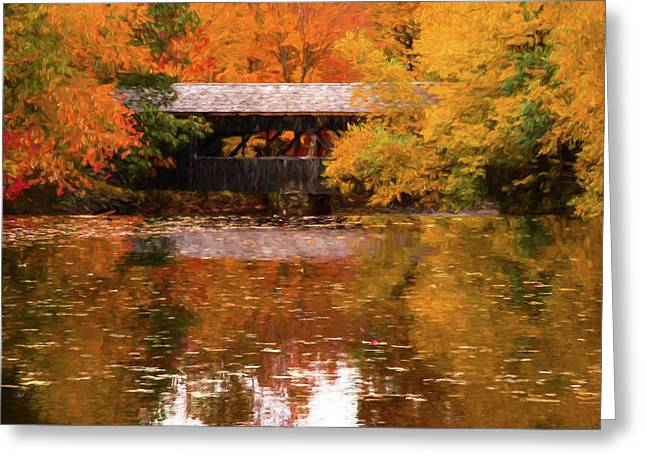 Greeting Card featuring the photograph Old Sturbridge Village Covered Bridge by Jeff Folger