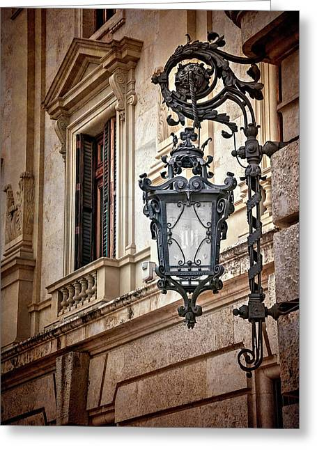 Old Style Street Lamp In Valencia Spain  Greeting Card