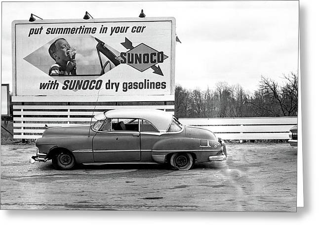 Old Sunoco Sign Greeting Card