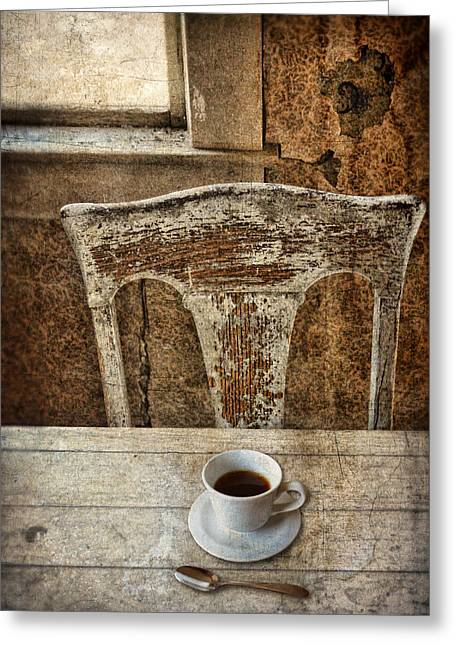 Old Table And Chair With Coffee Greeting Card by Jill Battaglia