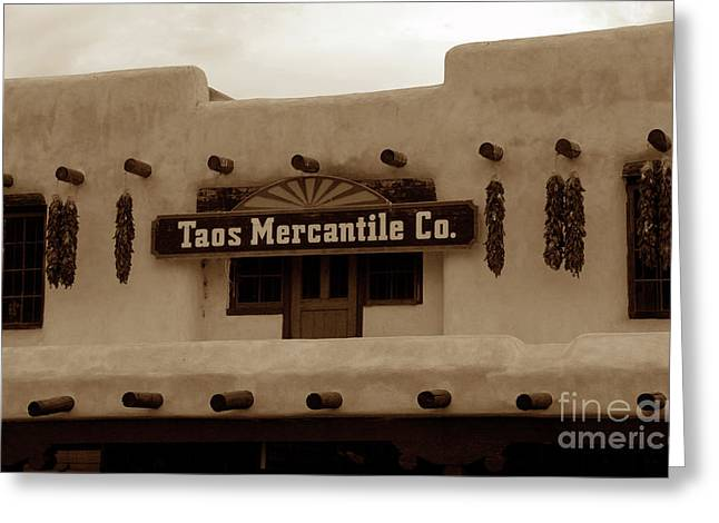Old Taos Greeting Card by David Lee Thompson
