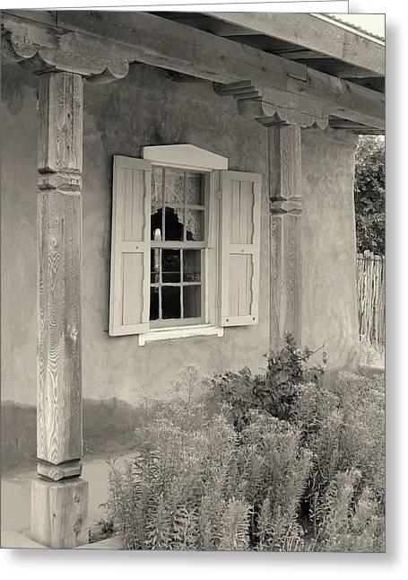 Old Taos Window Greeting Card by Gordon Beck