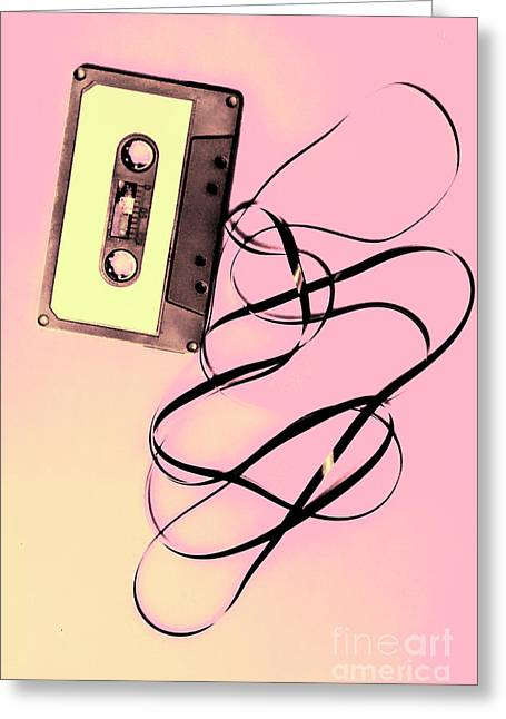 Old Tape On Pink Background Greeting Card