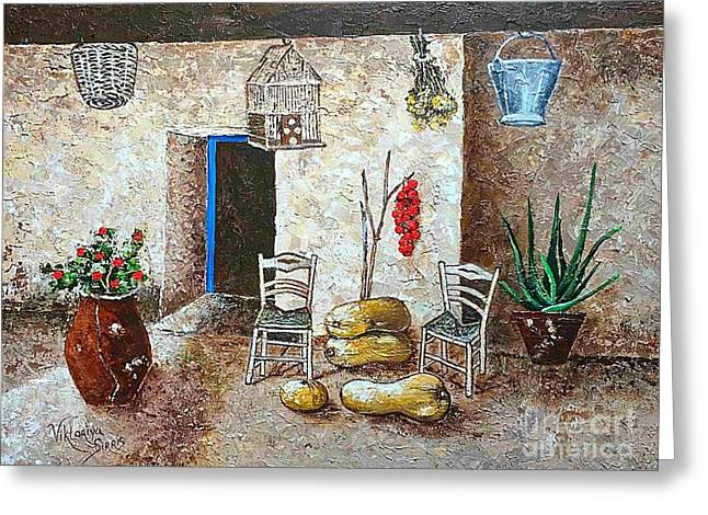 Old Tavern In Chios Greece Greeting Card