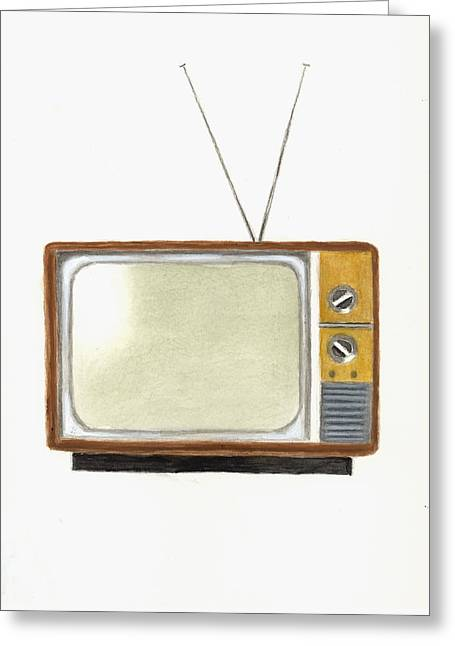 Old Television Set Greeting Card by Michael Vigliotti
