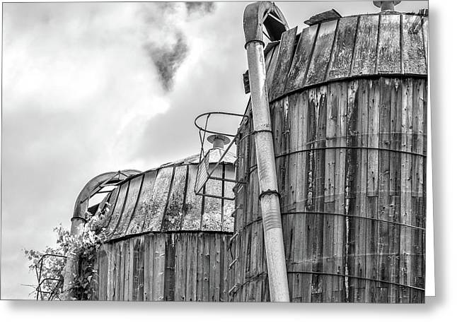 Greeting Card featuring the photograph Old Texas Wooden Farm Silos by Edward Fielding