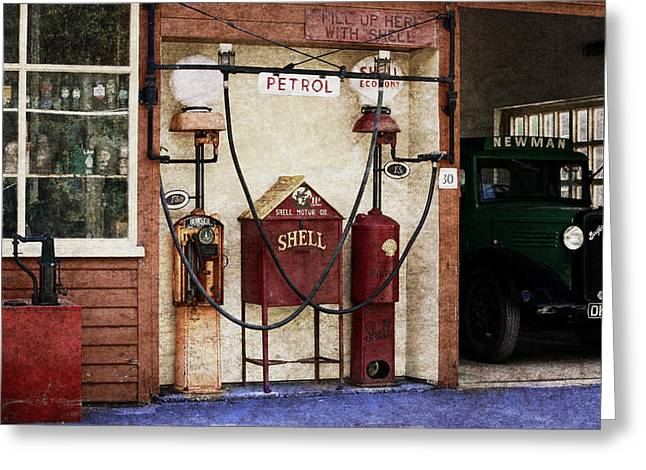 Old Time Gas Station Greeting Card