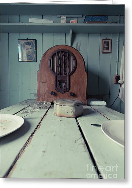 Greeting Card featuring the photograph Old Time Kitchen Table by Edward Fielding