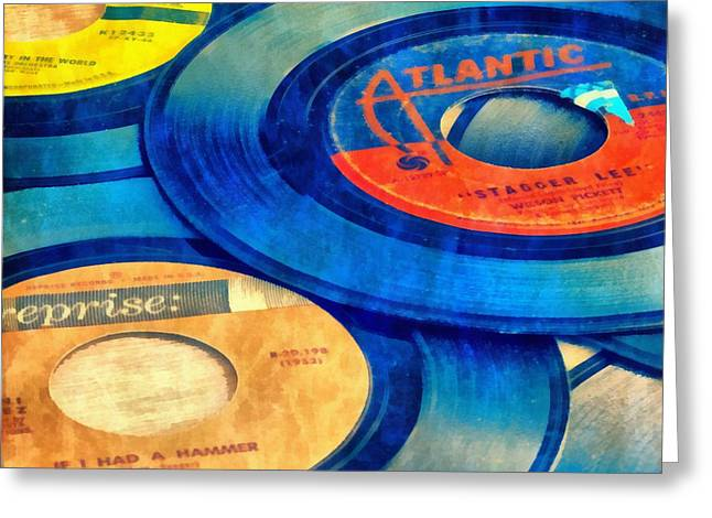 Old Time Rock And Roll 45s Vinyl Greeting Card by Edward Fielding
