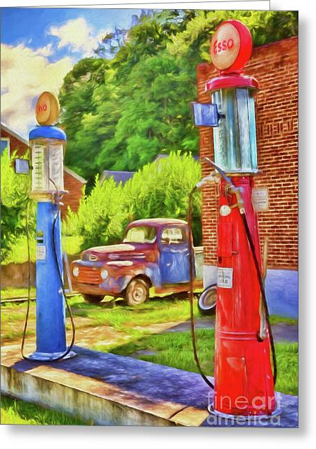 Old Time Vintage Gas Pumps Ap Greeting Card by Dan Carmichael