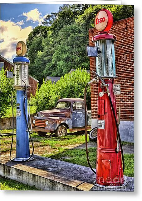 Old Time Vintage Gas Pumps Greeting Card by Dan Carmichael