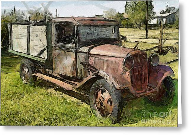 Old Timer Greeting Card by Murphy Elliott