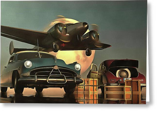 Greeting Card featuring the painting Old-timers With Airplane by Jan Keteleer