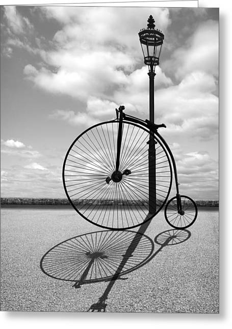 Old Times - Penny Farthing With Street Lamp And Shadows Greeting Card