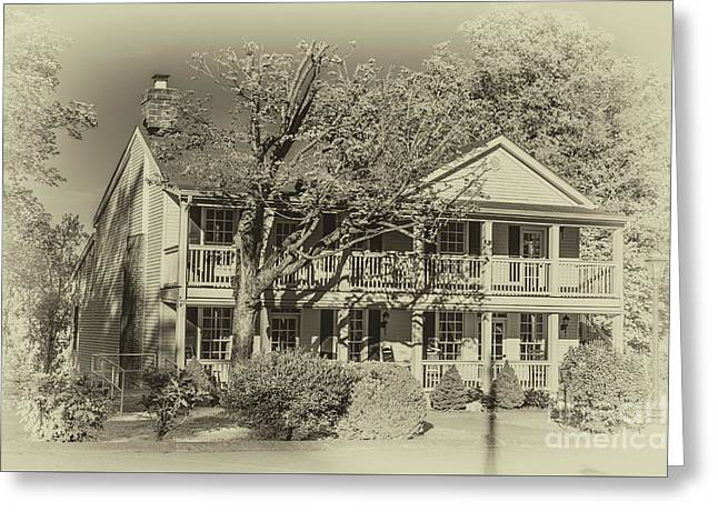 Old Timey Effect On Christopher Columbus Collier House Charlotte Historic Town Square Greeting Card