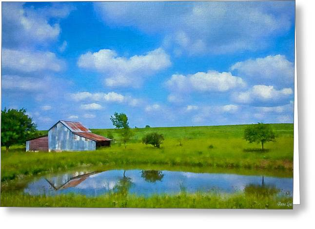 Old Tin Barn In Spring Greeting Card by Anna Louise