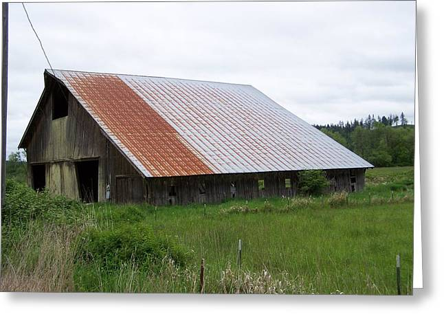Old Tin Roof Barn Washington State Greeting Card by Laurie Kidd