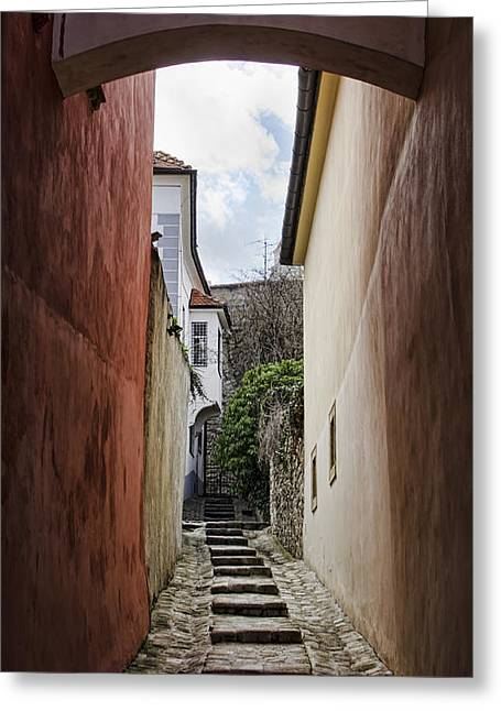 Old Town Alley Greeting Card by Heather Applegate