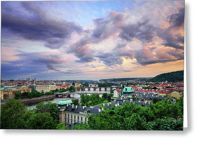 Old Town And Charles Bridge, Prague, Czech Republic Greeting Card