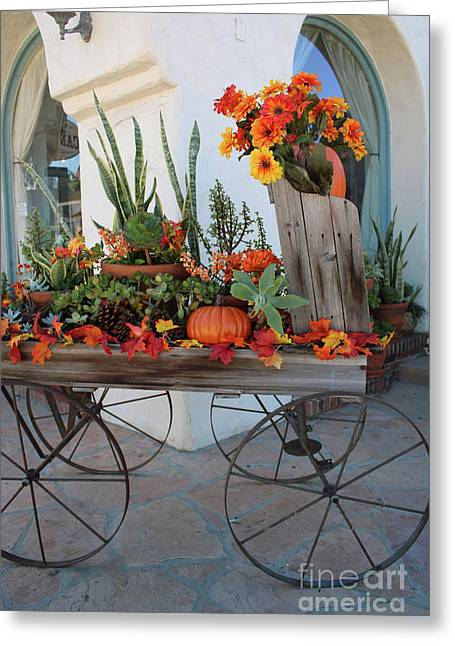 Old Town Autumn Wagon Greeting Card