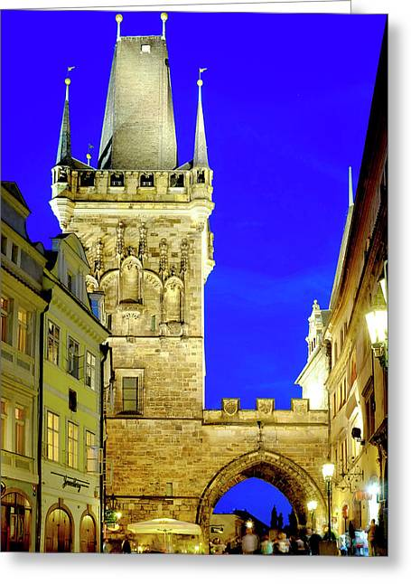 Greeting Card featuring the photograph Old Town Bridge Tower by Fabrizio Troiani