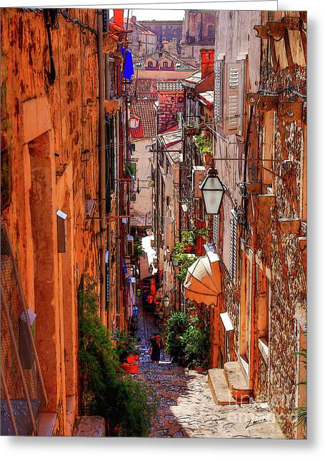 Old Town Dubrovniks Inner Passages Greeting Card