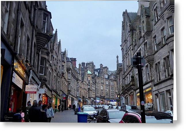 Old Town Edinburgh Greeting Card by Margaret Brooks