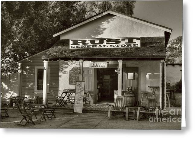 Old Town General Store Sepia Tone Greeting Card