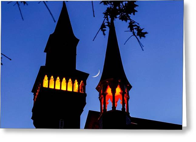 Old Town Hall Crescent Moon Greeting Card