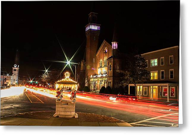 Old Town Hall Light Trails Greeting Card
