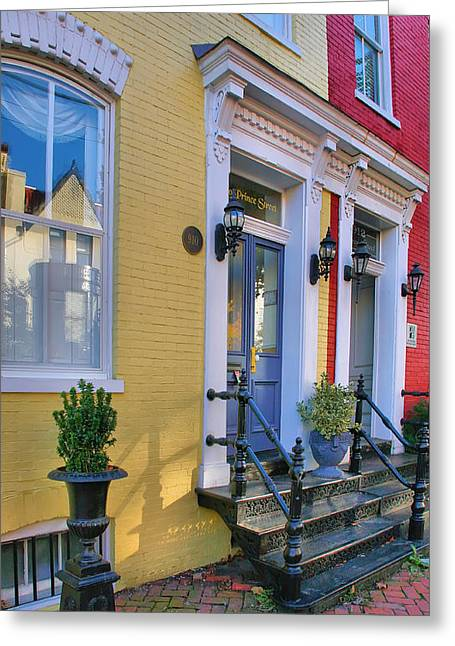 Entrance Door Photographs Greeting Cards - Old Town Homes I Greeting Card by Steven Ainsworth