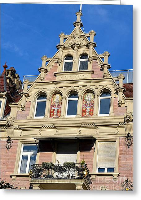 Old Town House Facade In Baden-baden Greeting Card by Elzbieta Fazel