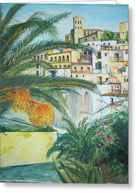 Old Town Ibiza Greeting Card by Lizzy Forrester