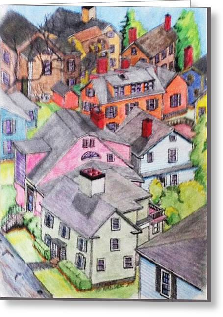 Old Town Marblehead Greeting Card by Paul Meinerth
