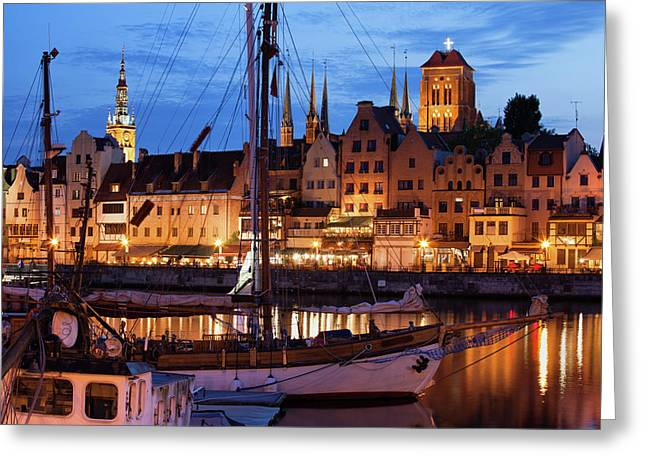 Old Town Of Gdansk At Twilight Greeting Card