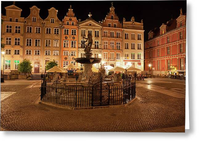 Old Town Of Gdansk By Night In Poland Greeting Card