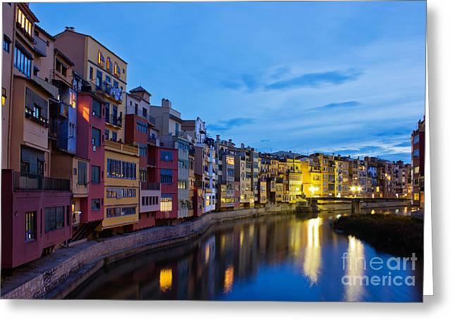 Old Town Of Girona At Night Greeting Card by Anastasy Yarmolovich