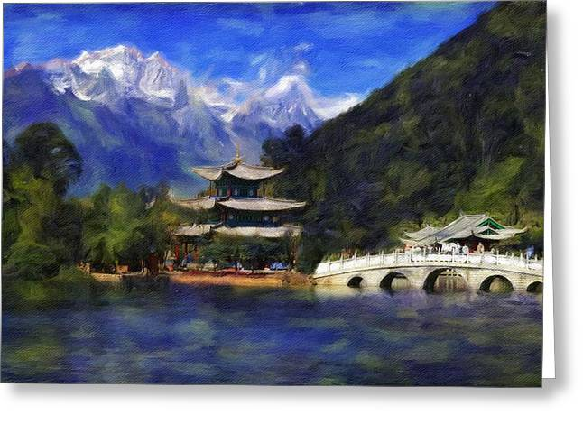 Old Town Of Lijiang Greeting Card by Vincent Monozlay