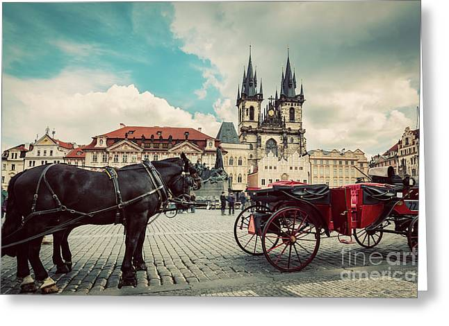 Old Town Of Prague, Czech Republic. Horse Carriage For Tourists. Tyn Church, Vintage Greeting Card