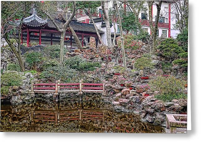 Old Town Rock Garden Shanghai Greeting Card by Barb Hauxwell