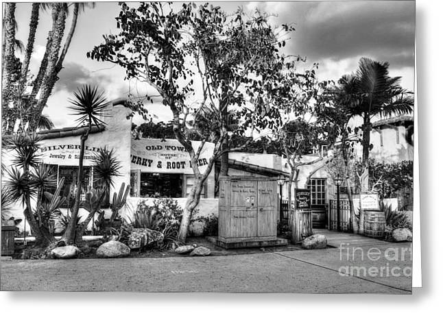 Old Town San Diego Bw Greeting Card