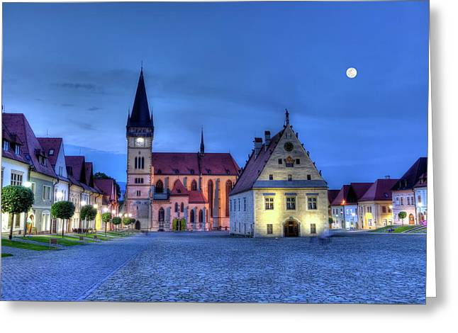 Old Town Square In Bardejov, Slovakia,hdr Greeting Card by Elenarts - Elena Duvernay photo