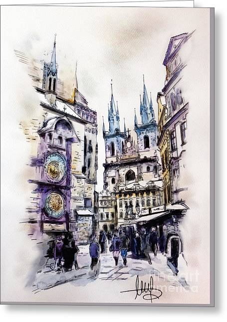 Old Town Square In Prague Greeting Card by Melanie D