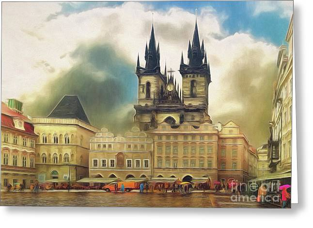 Old Town Square Prague In The Rain Greeting Card