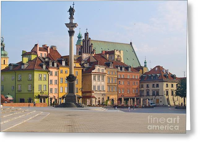 Old Town Square Zamkowy Plac In Warsaw Greeting Card