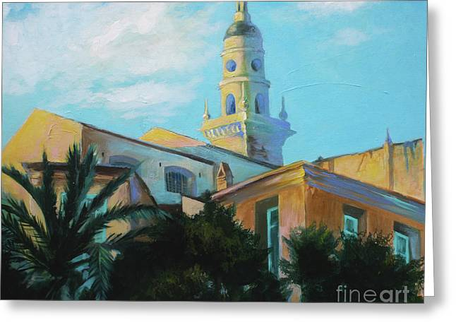 Old Town Tower In Menton Greeting Card by Lin Petershagen