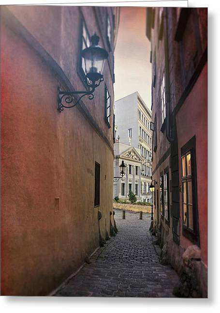 Old Town Vienna Narrow Alley  Greeting Card