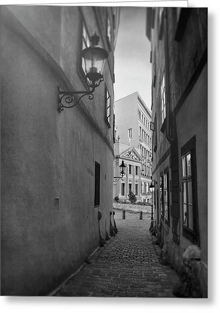 Old Town Vienna Narrow Alley In Black And White  Greeting Card