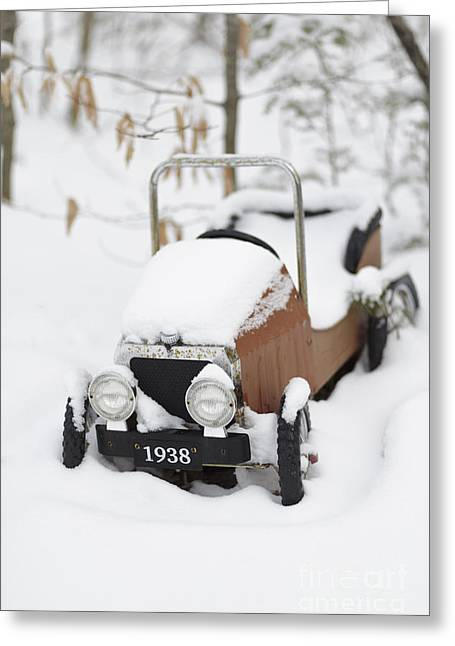 Old Toy Car In The Snow Greeting Card by Edward Fielding